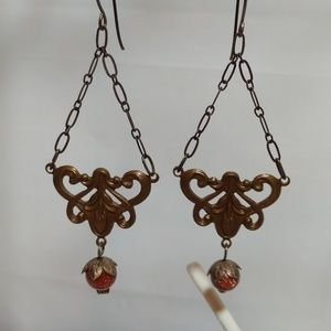 Vintage Brass Art Nouveau Style Earrings